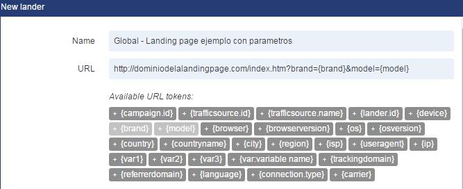 Parametros landing page