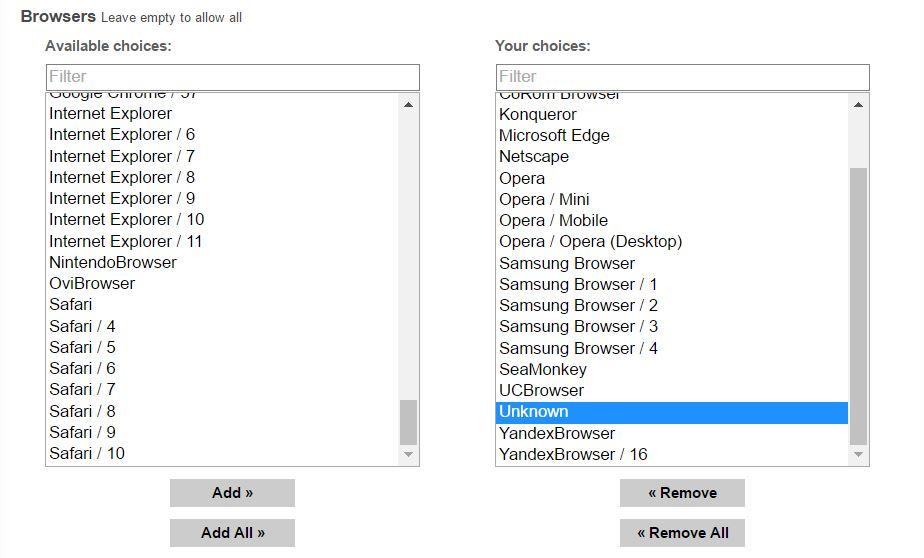 browsers en popads